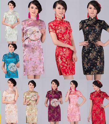 Chinese Womens Embroidery Dragon&Phoenix Silk Cheongsam Qipao Mini Evening Dress Chinese Silk Cheongsam Dress
