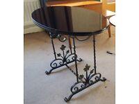 Oval Black Glass Coffee Table