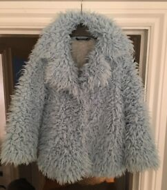 Girls pale blue furry coat