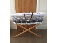 Mothercare Ombre Moses Basket - Grey and Stand Excellent condition