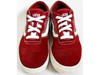 Boys Size 2.5 Maroon Vans Trainers - Open to Offers