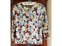 Ladies BODEN Flowered Cardigan Size 12 - VGC