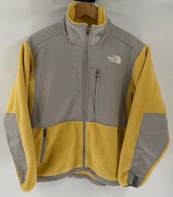 The North Face Womens Fleece Jacket Yellow Gray Color Block Zip Pockets S