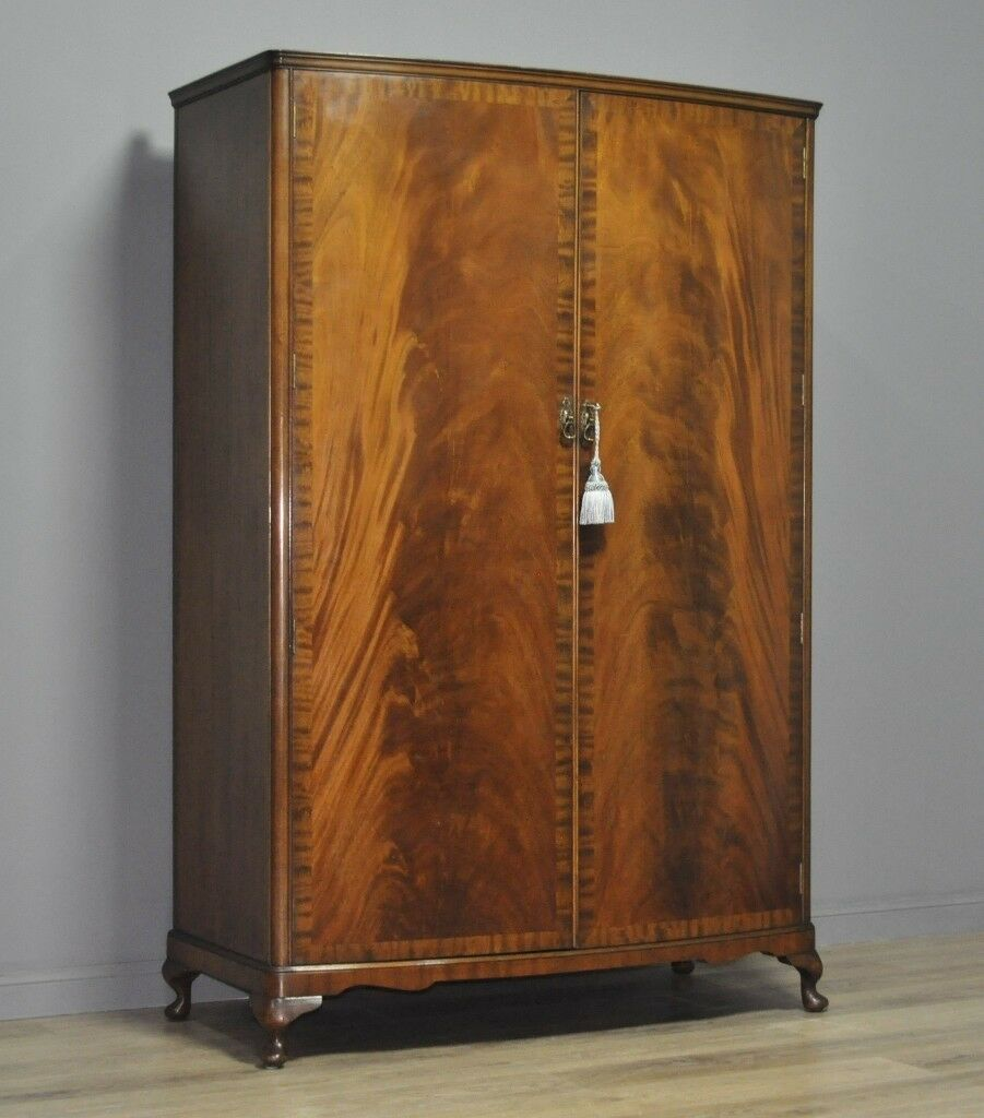 The Cheapest Price Edwardian Bowfront 2 Door Oak Wardrobe With Key Antiques Armoires/wardrobes