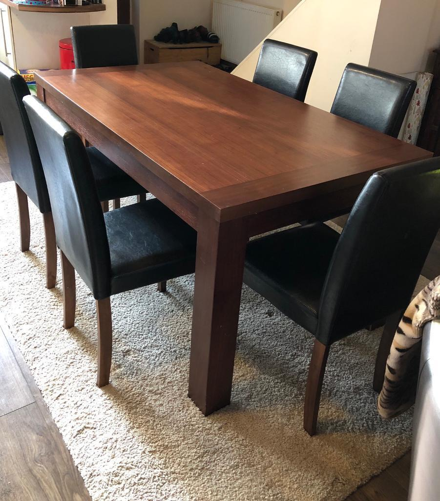 Dining Table 6 Chairs In Dark Brown SOLD Hull