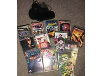 PSP with games, movies, charger and case