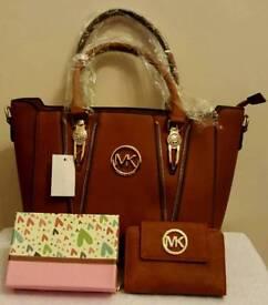 ladies tan fashion bag with purse