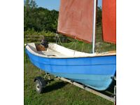 12 ft Sailing dinghy with road trailer and outboard