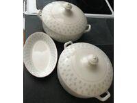 Emily Maker: Furnivals 2 serving dishes with lids and 1 milk jug saucer