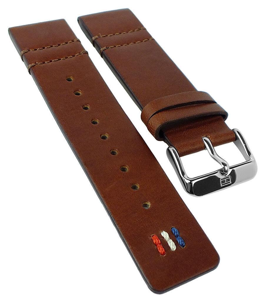 Tommy Hilfiger Ersatzband 22mm Uhrenarmband Leder Band braun 1791208