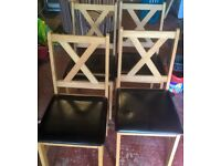 Pine dining table and 4 chairs 1 year old good condition some light scratches