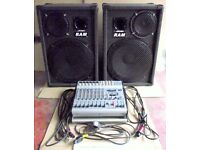 PA Sound System with powered mixing desk and 3-way full range speakers