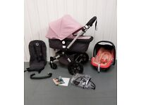 SOFT PINK/GREY Bugaboo Cameleon 3rd Generation! FULL TRAVEL SYSTEM!