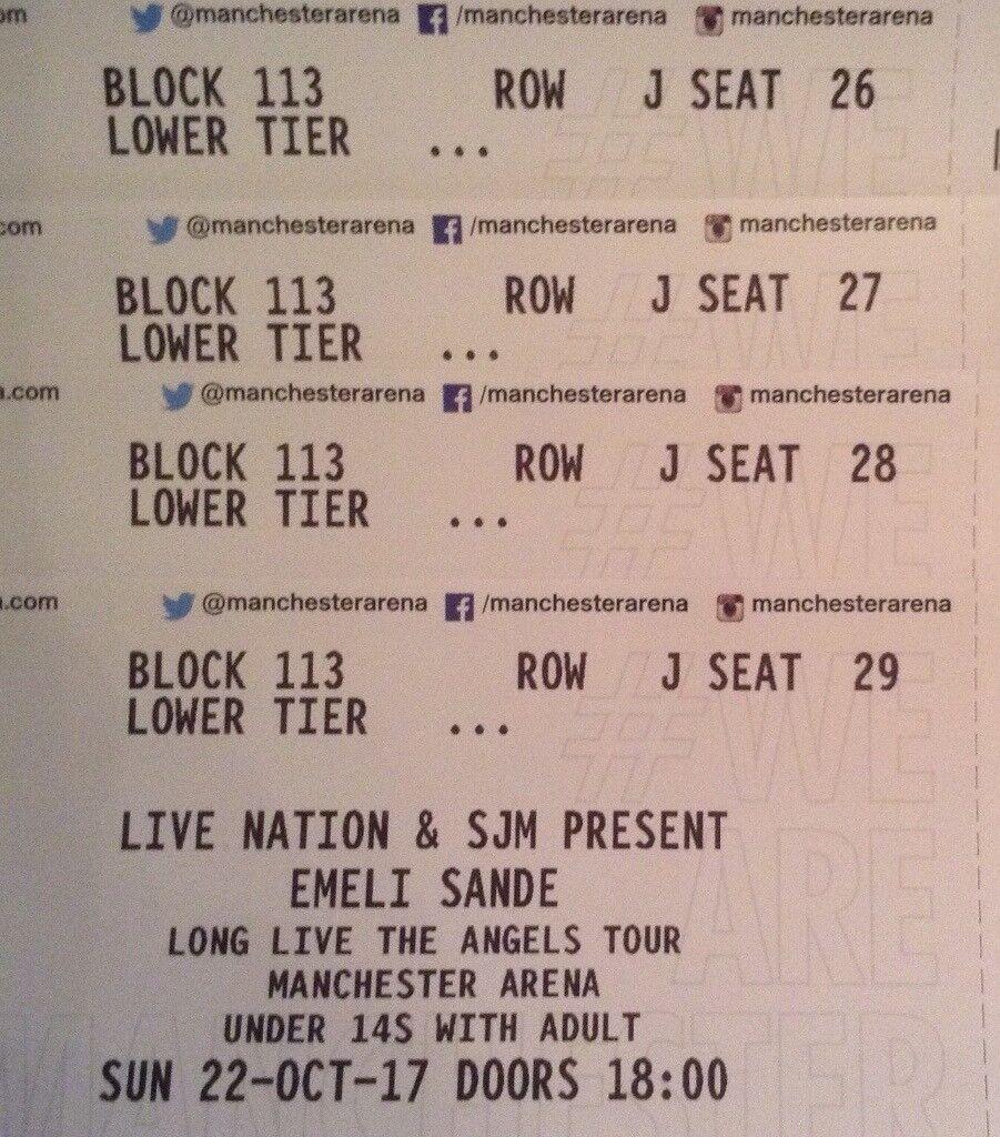 4 Emili Sande tickets,Manchester.