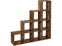 Staircase Shelf, 10-Cube Storage Unit, Wooden Display Rack, Free Standing Shelf,