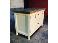 Freestanding kitchen island solid timber top