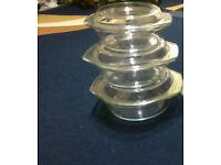 Microwaveable three Glass caserrole set with lids