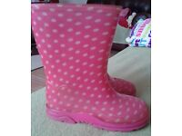Girls pink wellies. Size 7