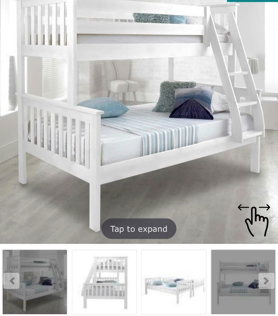 Bunk Bed White Frame Double Bottom Bed In Sunderland Tyne And