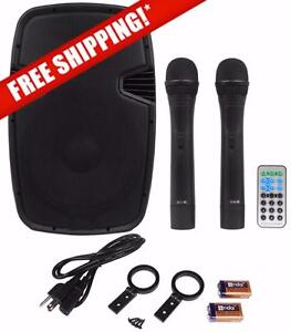 "Acoustic Audio 4315T 15"" 1000 Watt Portable Rechargeable PA Speaker System w/ 2 VHF Wireless Microphones"
