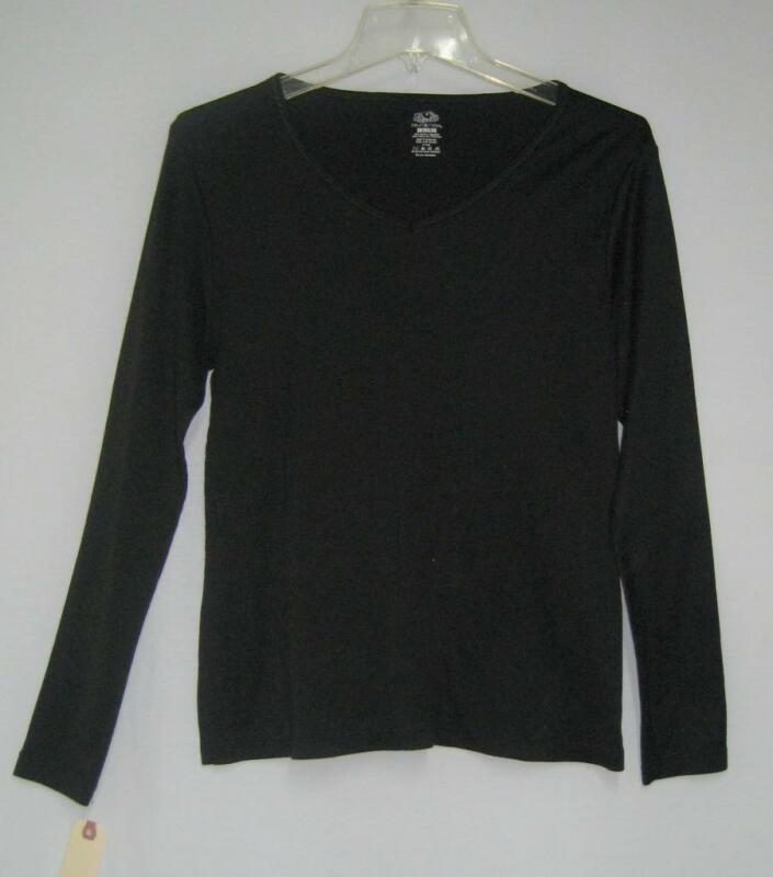 Fruit Of The Loom Ladies Base Layer Long Sleeve Top Black Women's Large NEW