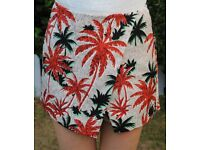 Topshop orange palm tree printed skort - UK10