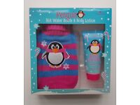 Penguin Hot Water Bottle and Body Lotion