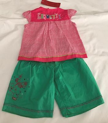 CATIMINI Baby Girls 6m (3-6m) PANTS & TOP 2pc SUMMER PINK  CHECK SET/OUTFIT NWT Baby Girls Pink Check