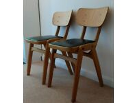 2 x Vintage Mid Century kitchen dining chairs bent wood vinyl seat covers