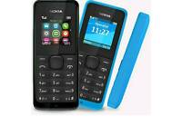 Brand New Unlocked Nokia 105 Black And Blue Colour Fully Boxed Up