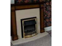 Electric fire, marble effect surround and wooden mantelpiece