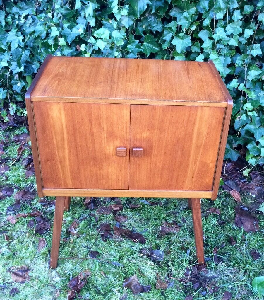 1960s Record Cabinet Retro Vintage Teak Record Cabinet 1960s In Paisley