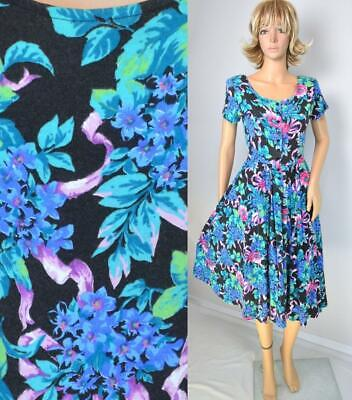 80s Dresses | Casual to Party Dresses VTG 80s Expo Petite Black Floral Revival Full Skirt Scoop Dolly Secretary Dress $23.99 AT vintagedancer.com