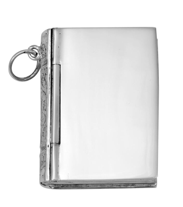 Sterling Silver Book Pillbox - Engravable