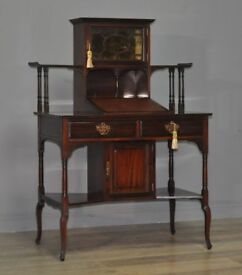 Attractive Small Antique Victorian Mahogany Bonheur Du Jour Writing Desk