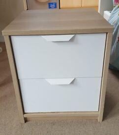 Ikea Askvoll Chest of 2 Drawers Bedside Oak Effect White