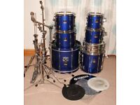 Yamaha Stage Custom Advantage, 7 piece Sonic Blue - excellent condition - with extras