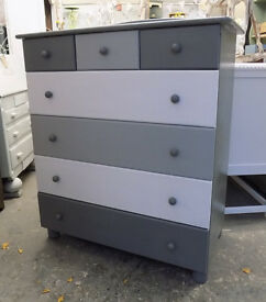Painted Grey White Pine Tall Chest Pine Drawers