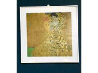 GUSTAV KLIMT WALL PRINT, FRAMED UNDER GLASS, GOLD LADY PORTRAIT ADELE, RETRO ART NOUVEAU