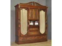Large Antique Victorian Carved Walnut Mirror Door Triple Combination Wardrobe