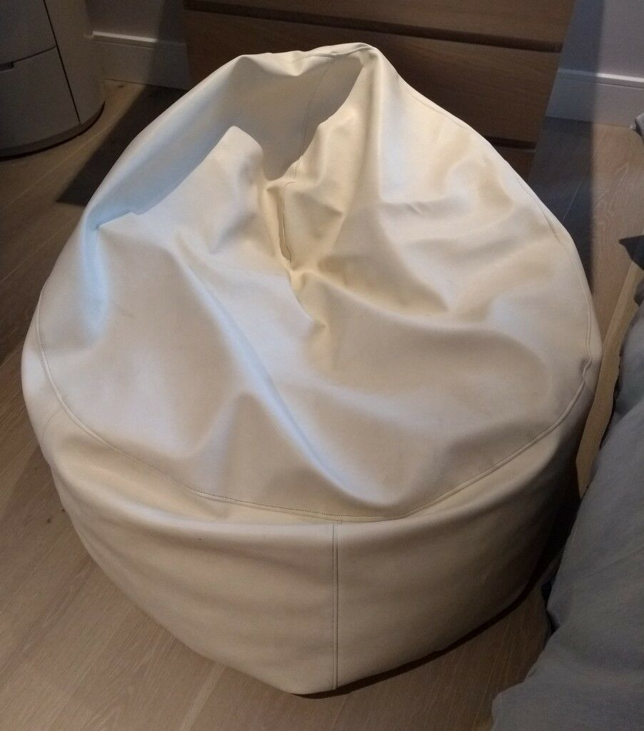 White Faux Leather Bean Bag Collection Only