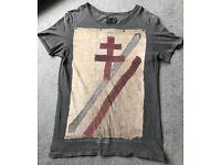 All Saints Two Tone Grey Graphic T-Shirt, Medium