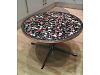Unique round mosaic coffee table/side table