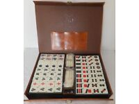 Vintage Mahjong by John Jaques - in hide case - bamboo backed tiles.