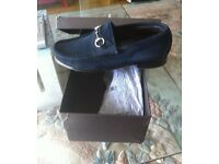 Mens Gucci Navy Suede Shoes Size 9