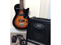 Gretsch Junior Jet Bass guitar, Peavey 20w amp, cable, strap -everything to start playing bass