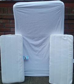 Mattresses for Ikea Minnen extending child bed. 3 pieces. 130x80cm & 2 pieces 35x80cm. Good conditio