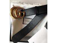 Gucci black leather double G belt