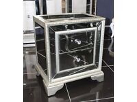 LUXURY MIRRORED SOFIA BEDSIDE / LAMP TABLE. New boxed. MAY DELIVER/View