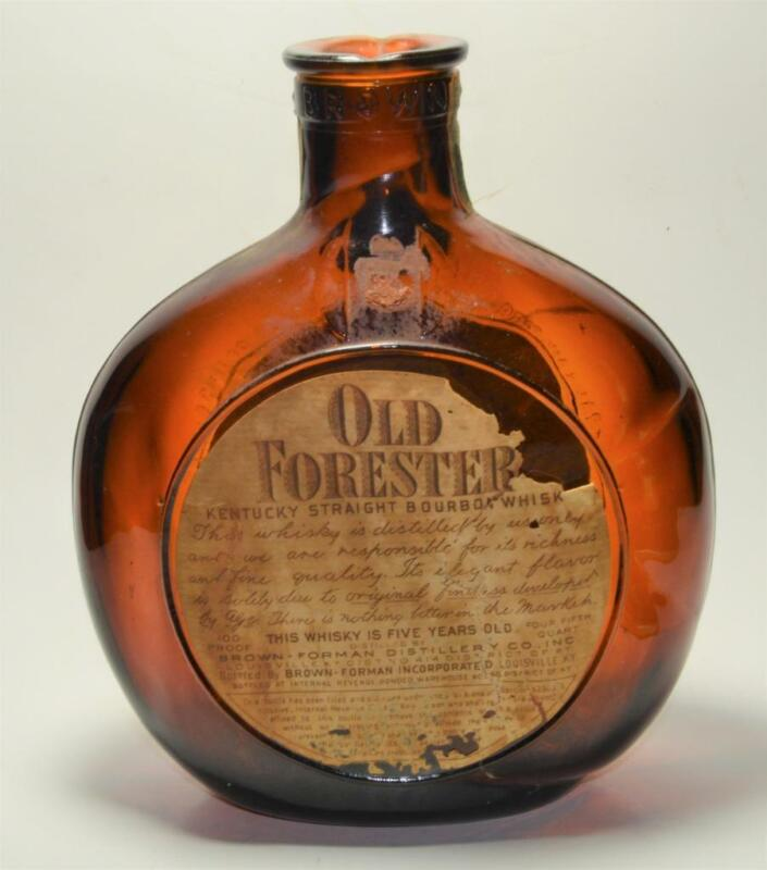 VTG 1940s? Old Forester Bourbon Whisky amber glass personalized empty bottle